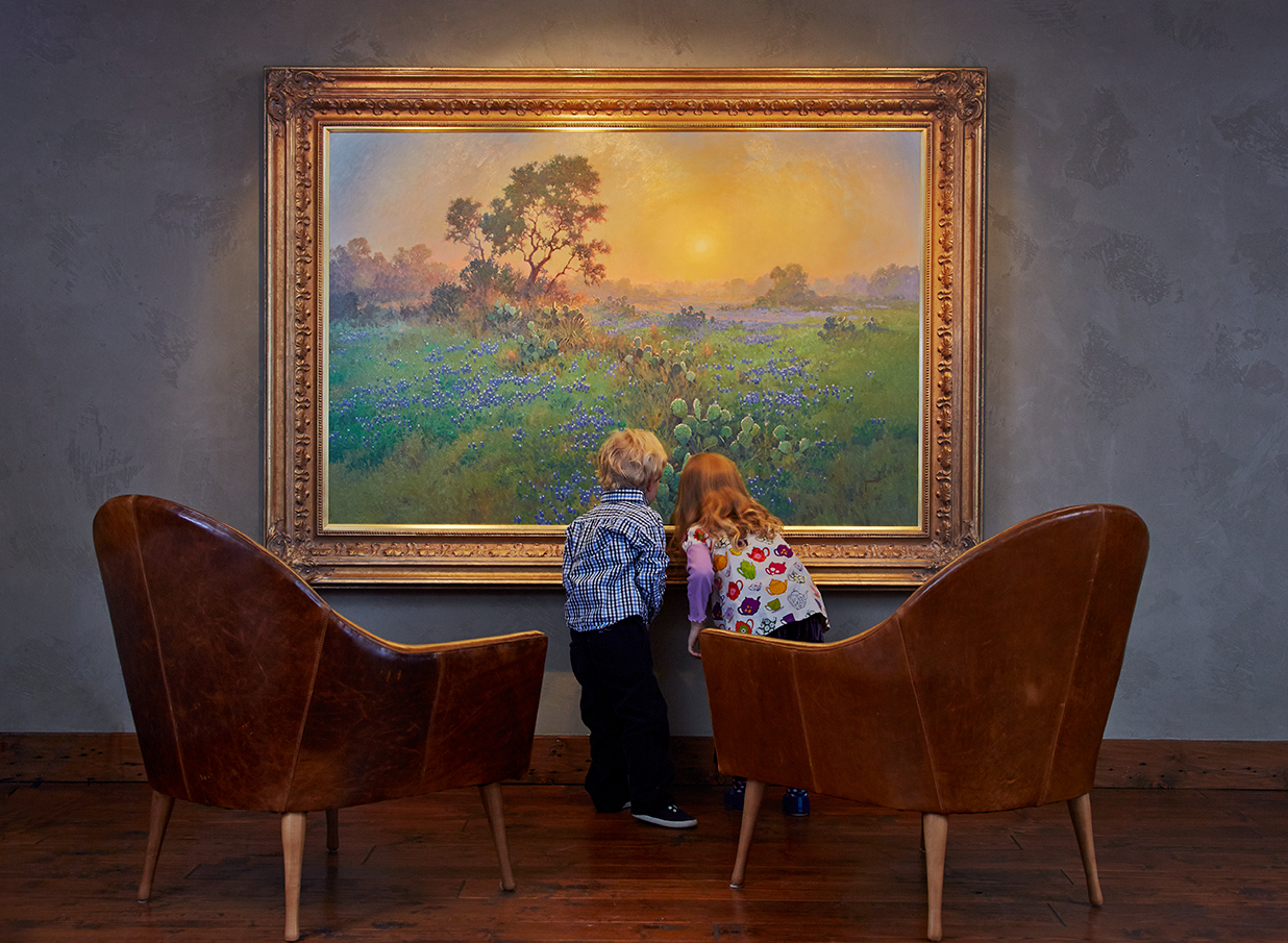 Kids and Art examining a Gordon Snidow Painting