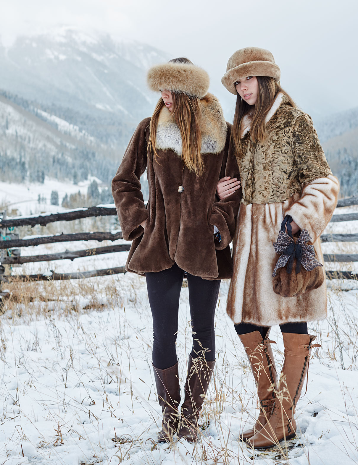 Girls in Furs in Winter snow in Vail, Colorado