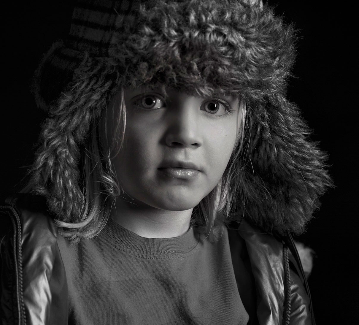 Black and white Photography of young boy in Vail, Colorado