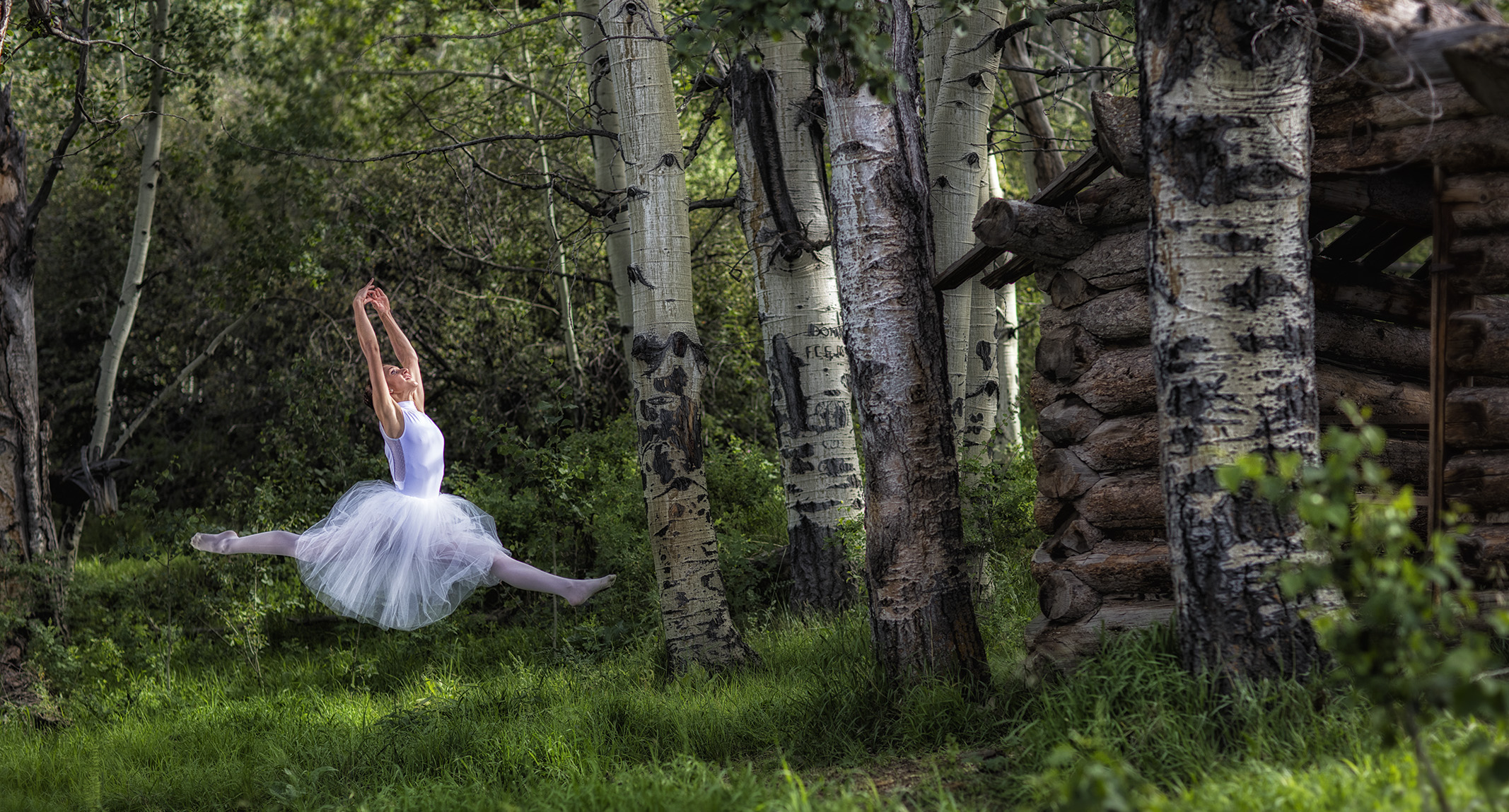 Ballerina dancing in a wooded setting