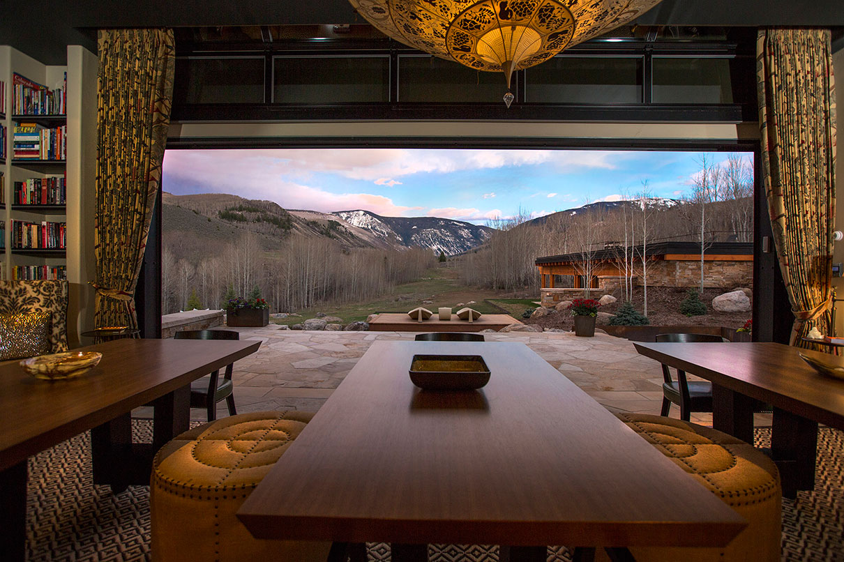 Indoor Outdoor dining on a Colorado Ranch